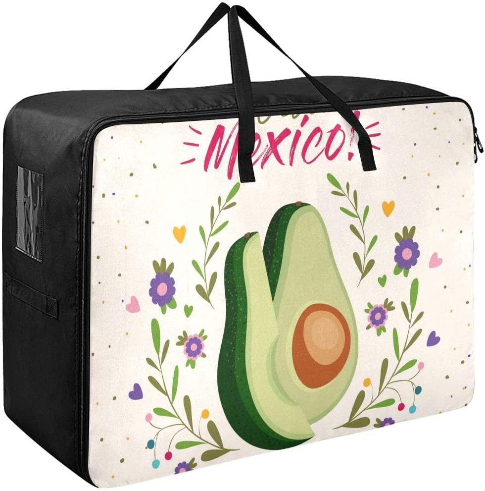 ALAZA Mexico Avocado Large Storage Bag Space Saving Laundry Bag Comforter Quilt Bedspread Pillow Luggage Moving Tote Garment Closet Storage Organizer(a)