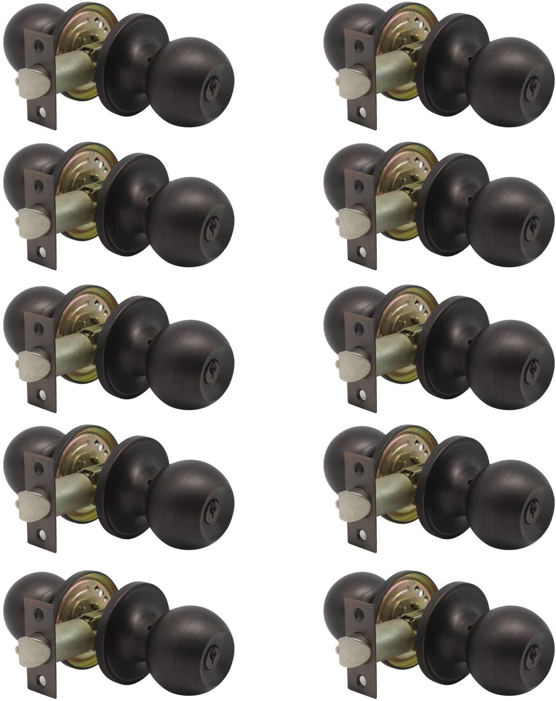 knobelite(10 Pack)Entry Door Knob Keyed Alike,Oil Rubbed Bronze Door Lock Handle,Entry Door Lock/Ball Door knobs with Lock and Same Key,Entrance Knob[Lock with 3 Combo Keys]for Office or Front Door