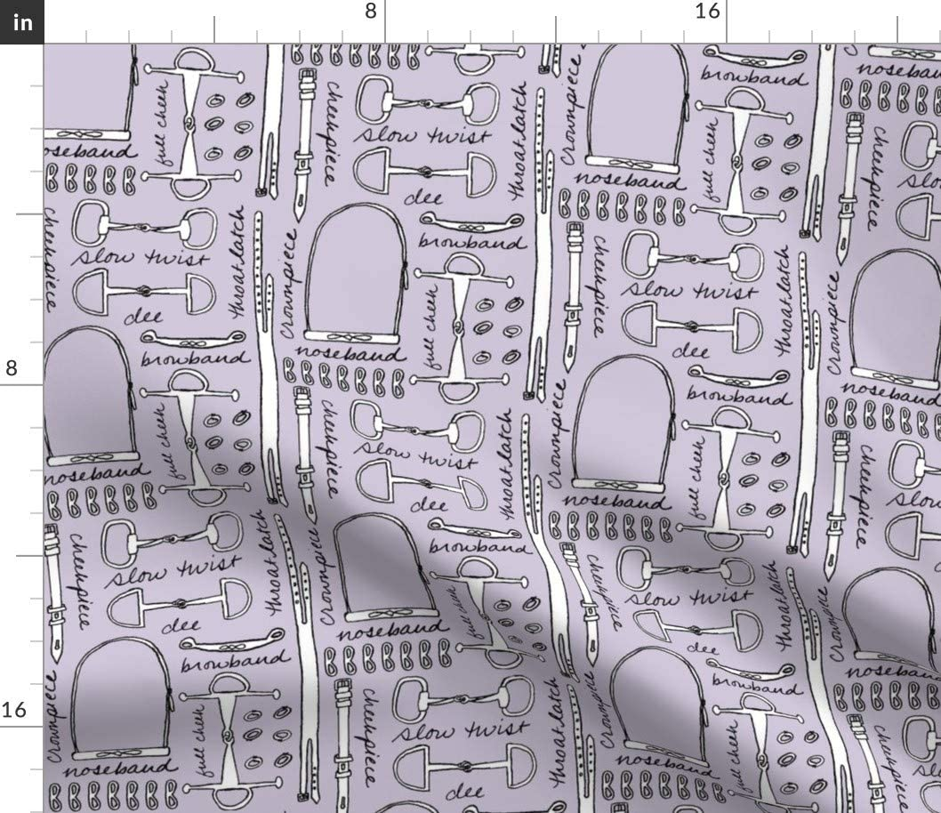 Spoonflower Fabric - Lavender Equestrian Horse Purple Lilac Printed on Petal Signature Cotton Fabric by The Yard - Sewing Quilting Apparel Crafts Decor