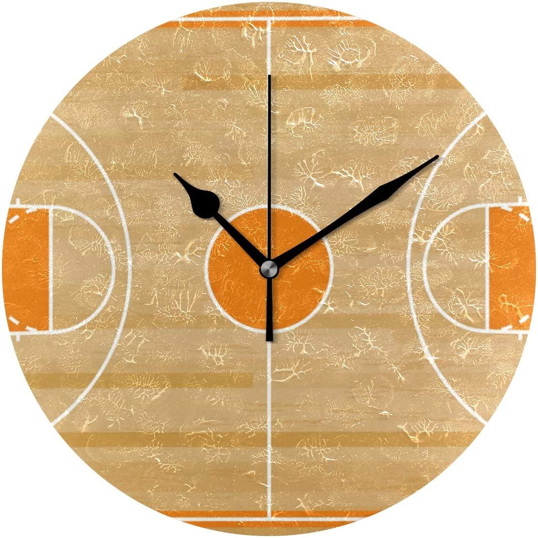 MERRYSUGAR Wall Clock Basketball Field Silent Non Ticking Digital 9 Inch Round Clock Easy to Read Desk Clock for Home Kitchen Office School Home Decor