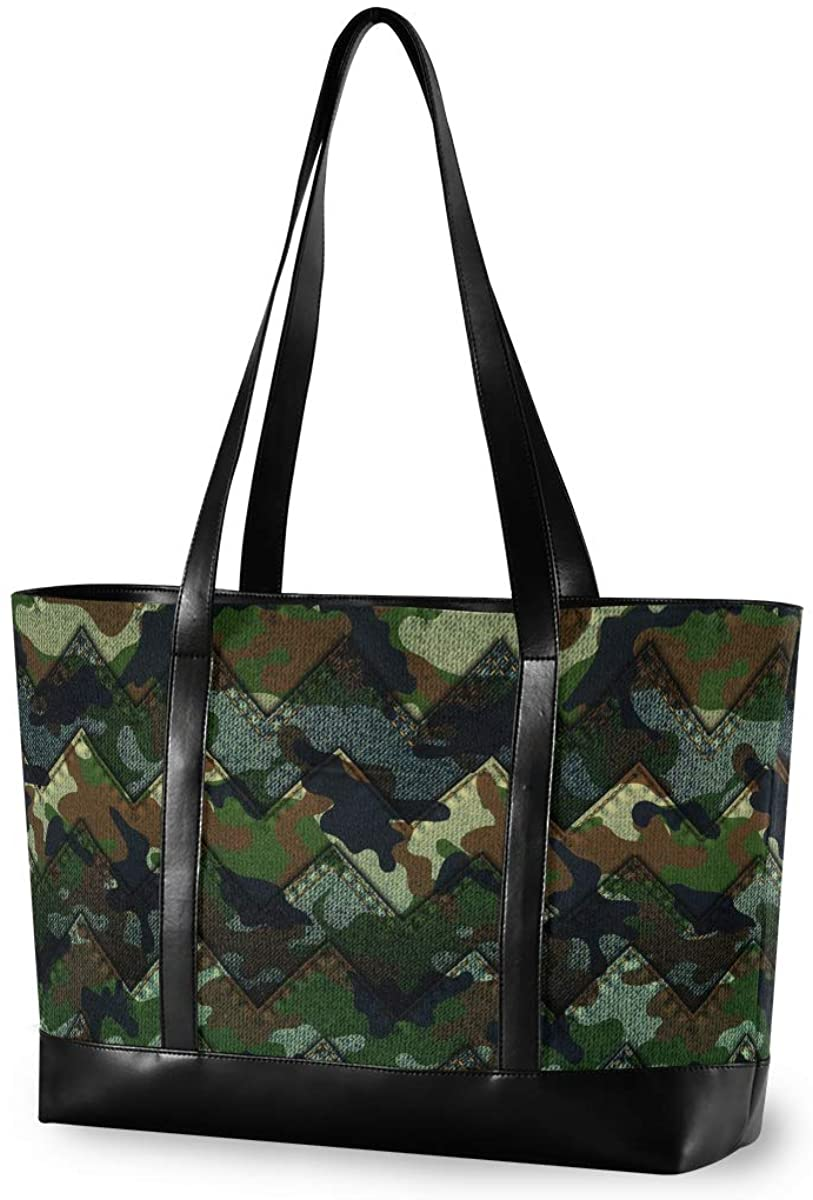 Women's Tote Shoulder Bag Camouflage Denim Capacity Handbag
