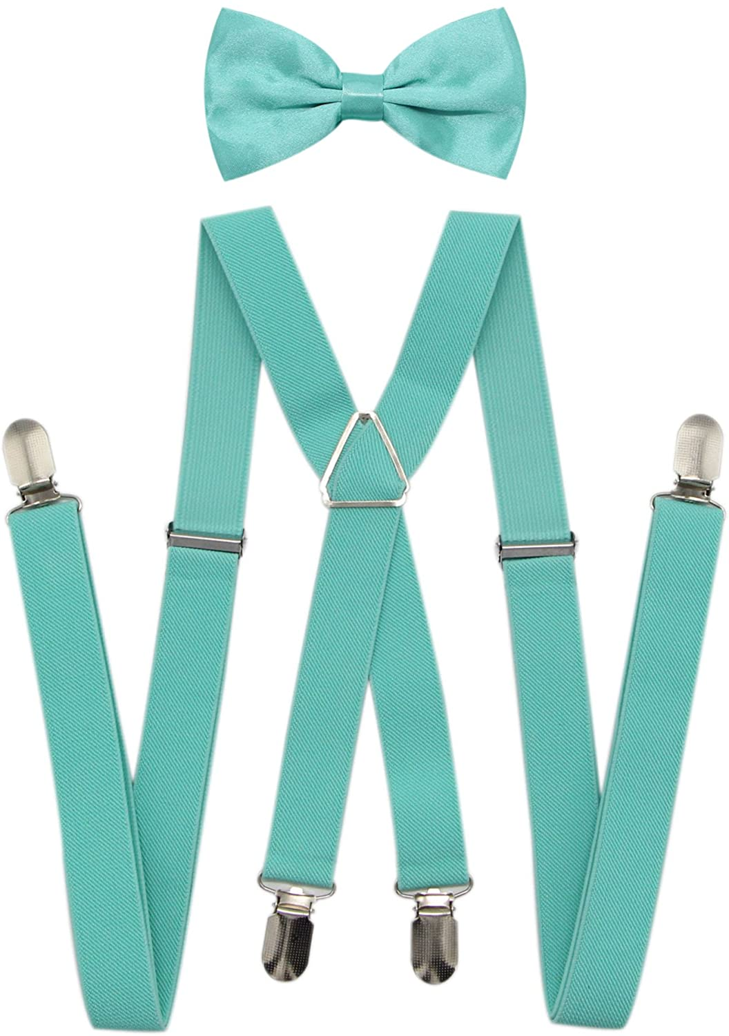 JAIFEI Mens X Back Suspenders & Bowtie Set - Perfect For Weddings & Formal Events