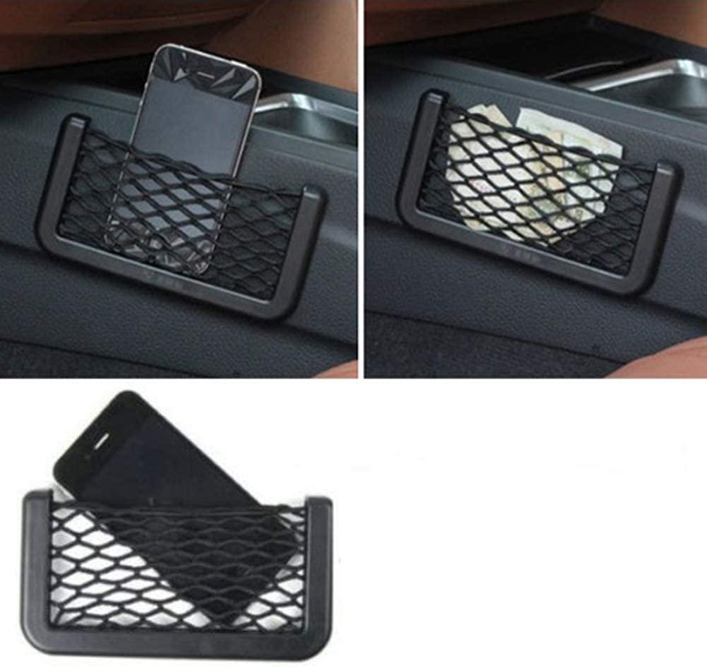 angel3292 Car Storage Organizer Universal Car Seat Side Back Storage Net Bag Phone Holder Pocket Organizer Black (Black)