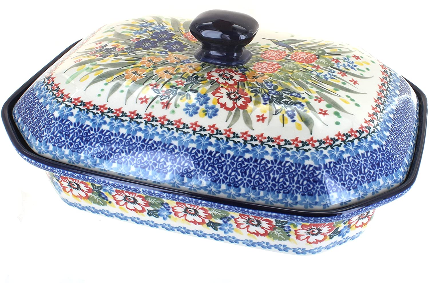 Blue Rose Polish Pottery Hummingbird Large Covered Baking Dish