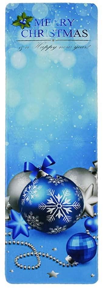 DOITOOL Bathmat Christmas Themed Bathroom Mat Set Christmas Ball Pattern Non-Slip Kitchen Rug Carpet (Blue)