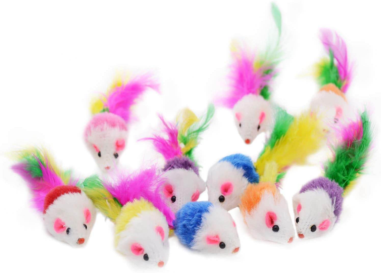 Famgee 20 PCS Furry Cat Toys Squeak Mouse Rattle Mice Cat Catcher Pet Toys with Feather Tails (Random Color)