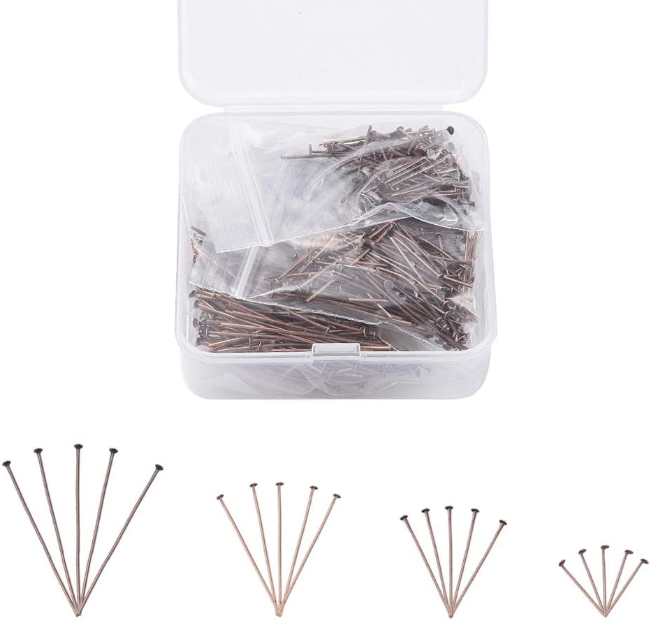 Cheriswelry 600pcs Mix Flat Head Pins 20/30/40/45mm Iron Jewelry Beading Pins Wire Head Pins Findings 21 Gauge Red Copper for DIY Crafts Earring Pendant Necklace Jewelry Making