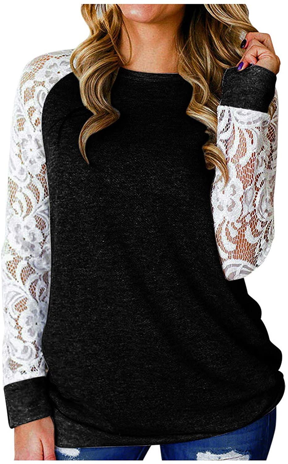 YSLMNOR Fall Plus Size Tshirt for Womens Lace Floral Splicing Tunic Tops Long Sleeve Crewneck Blouse