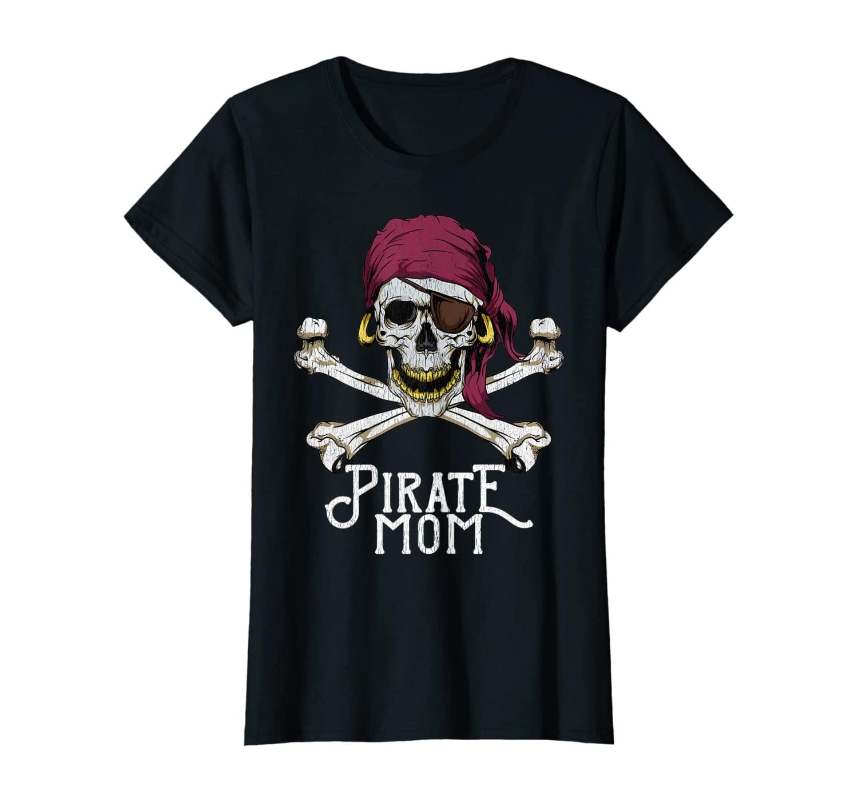 Womens Pirate Mom Jolly Roger Crossbones & Skull Halloween Costume T-Shirt
