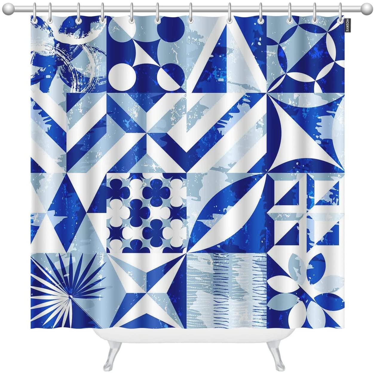 HOSNYE Blue Rectangle Stitching Extra Long Fabric Shower Curtain 72 x 96 inch Striped Circular Polygonal Leaf Flower Pattern Shower Curtains for Bathroom