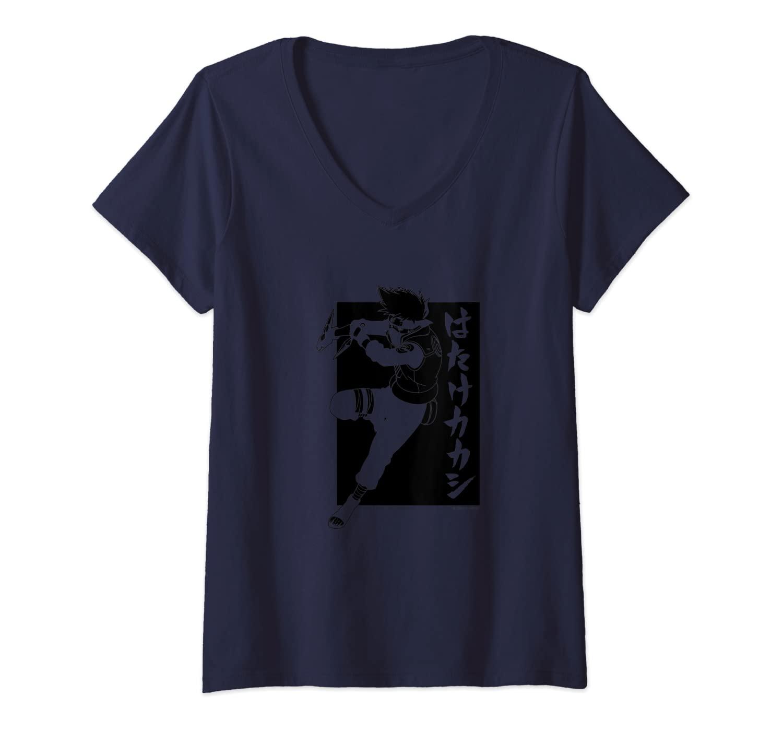 Womens Naruto Shippuden Kakashi with Vertical Kanji - Inverted V-Neck T-Shirt