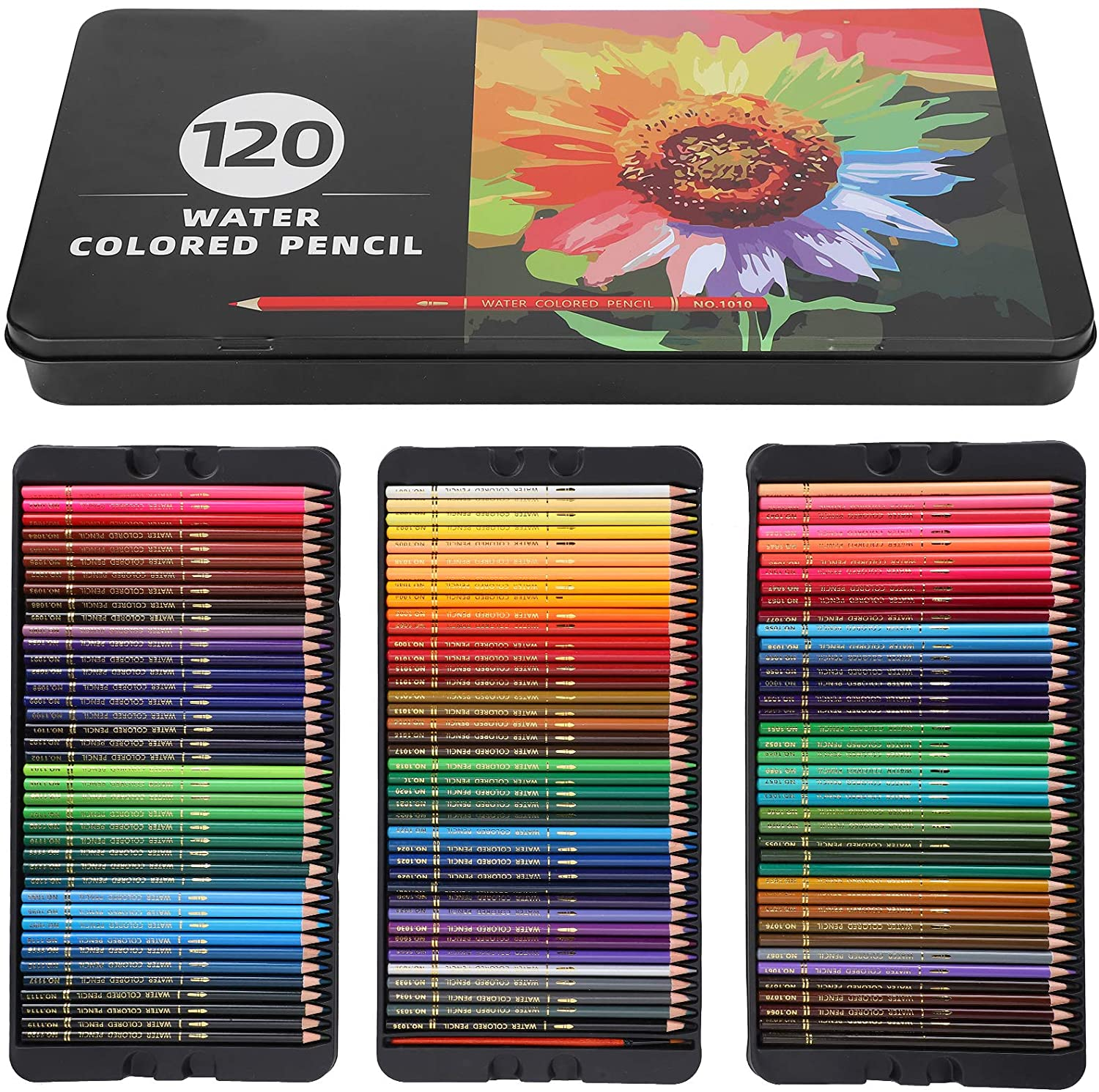 Colored Pencils Set, 120 Colouring Professional Water Soluble Pencil Set with Brush and Metal Box for Kids and Adult Coloring Book