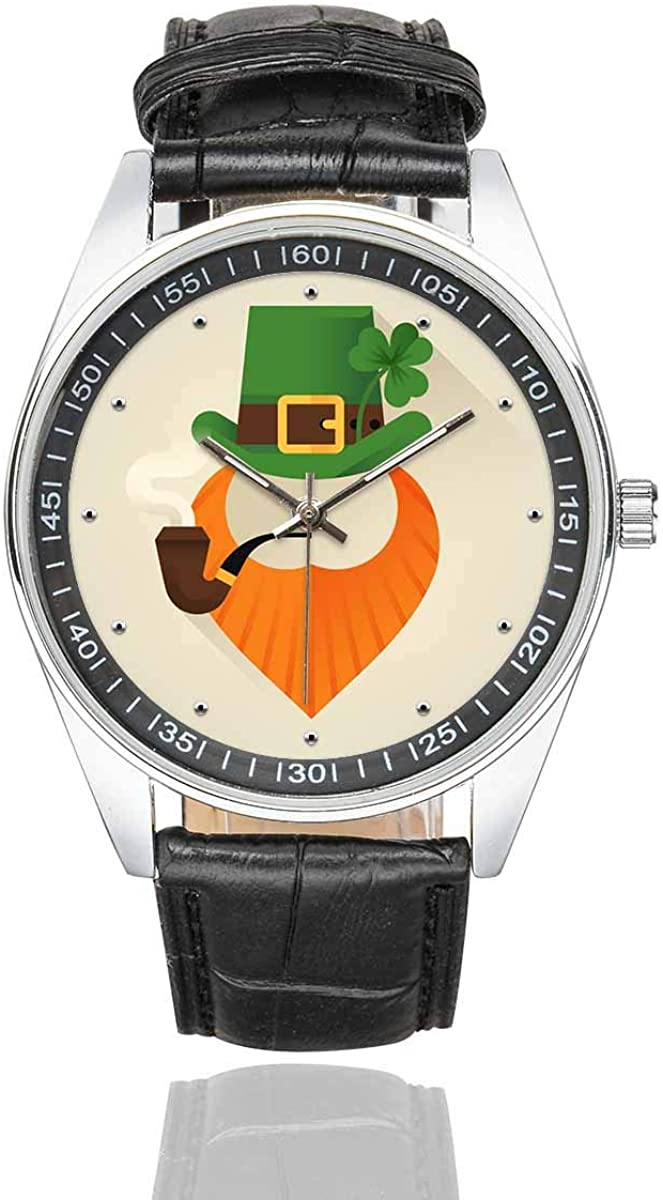 INTERESTPRINT Men's Fasion Watches Ripe Red Cherry Berries with Leaves Black Leather Band Waterproof Wrist Watch