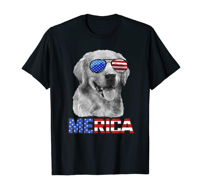 Golden Retriever Dog Merica 4th July Patriotic American Gift T-Shirt