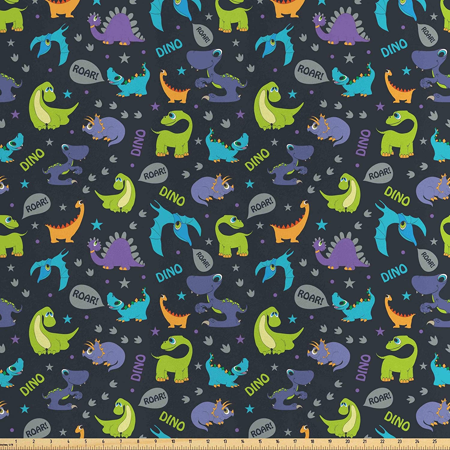 Lunarable Jurassic Fabric by The Yard, Cartoon Dinosaurs with Expressions Roar Footprints Dots and Stars Background, Decorative Satin Fabric for Home Textiles and Crafts, 5 Yards, Navy Blue
