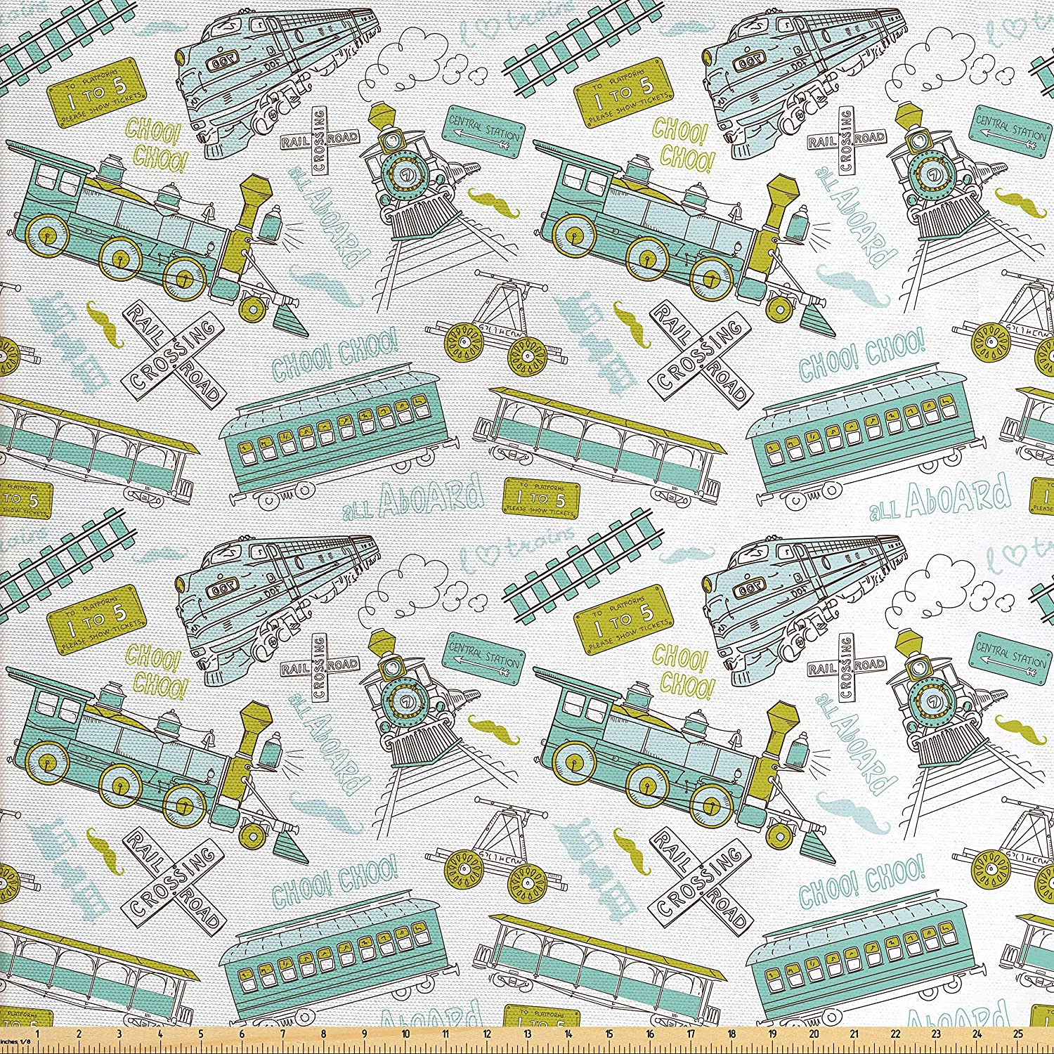 Ambesonne Steam Engine Fabric by The Yard, Choo Choo Train Kids Boy Pattern Blue Green Number Plate Vintage, Decorative Fabric for Upholstery and Home Accents, Apple Green Turquoise