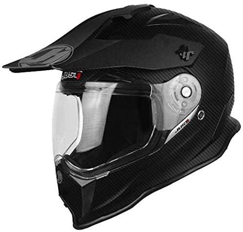 Just 1 J14 Duo Sport Unisex-Adult Off Road Carbon Fiber Shell Motocross Motorcycle Helmet Flat Black Trans Solid Look, Medium