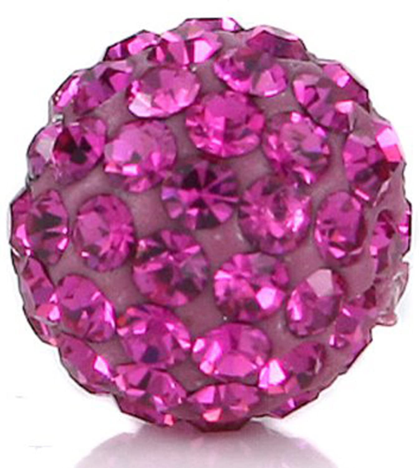 RUBYCA Pave Czech Crystal Disco Ball Clay Beads fit Shamballa Jewelry (20pcs, 12mm, Fuchsia Pink)