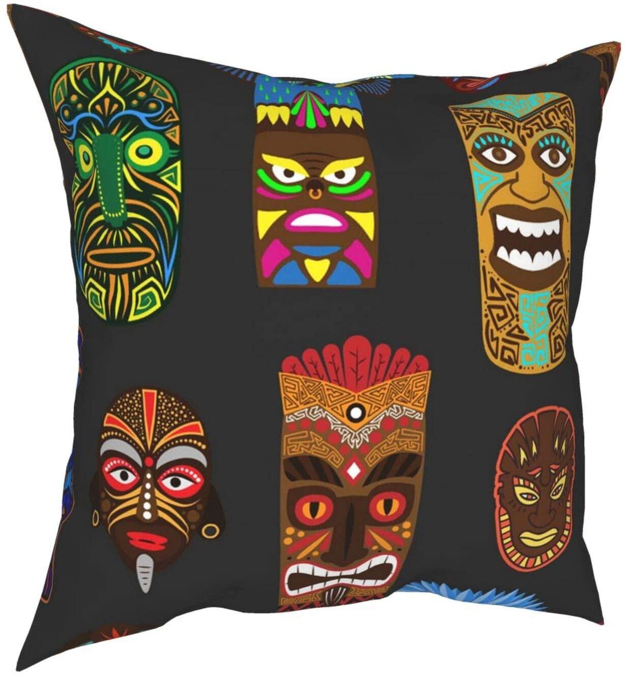 VARUN Ethnic African or Mexican Aborigen Masks Pillow Cover Decorative Throw Pillow Case Christmas Thanksgiving Farmhouse Flower Pillowcase for Home Decor Sofa Bedroom Car 12
