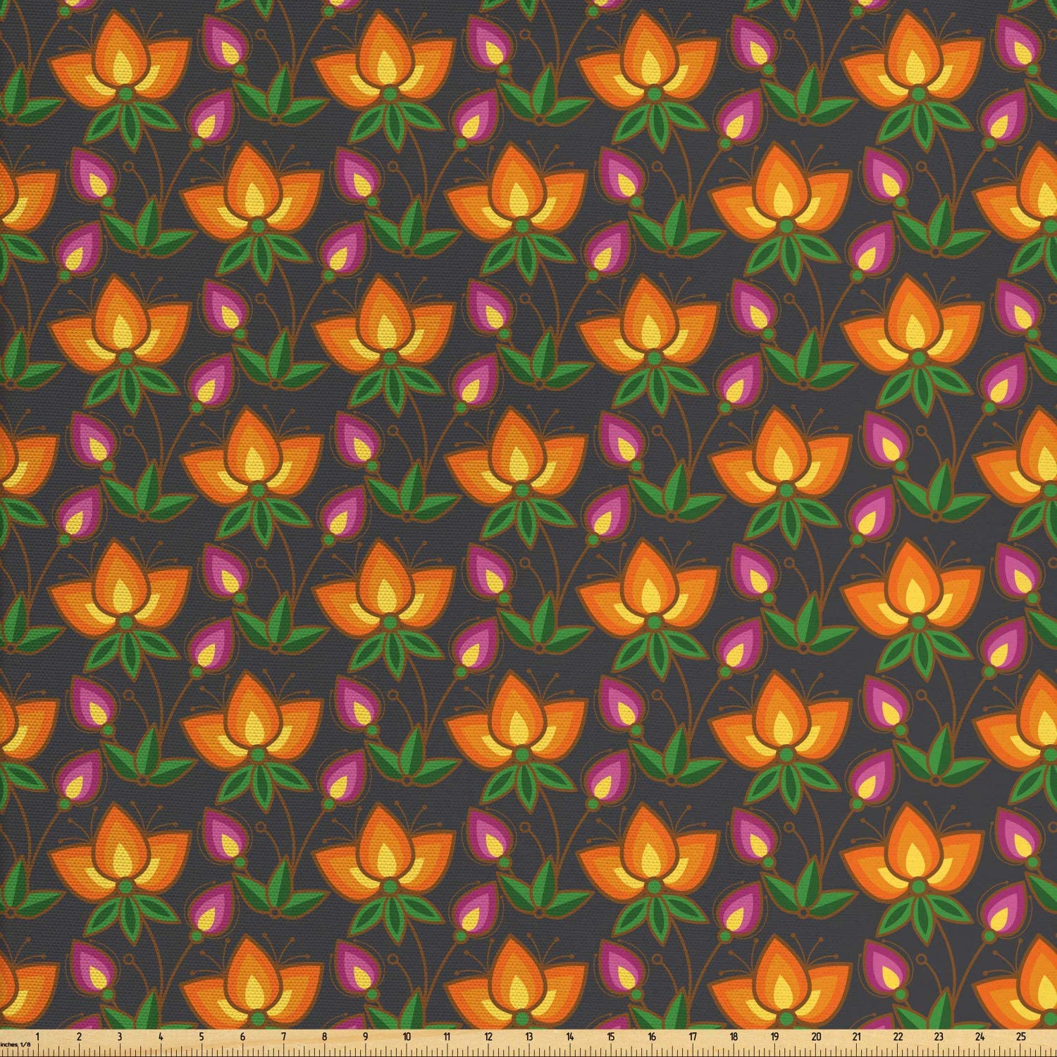 Ambesonne Floral Fabric by The Yard, Flowers Pattern with Leaves and Stems Flourishing Tangerine Violet Tones, Decorative Fabric for Upholstery and Home Accents, 1 Yard, Mustard and Multicolor
