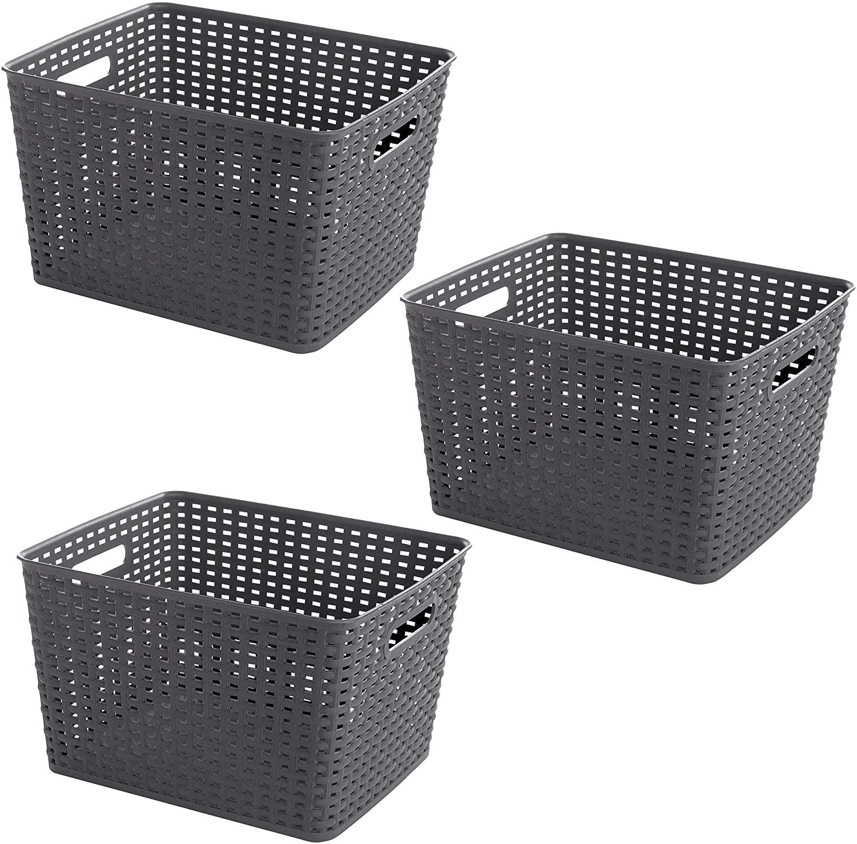 BINO Woven Plastic Storage Basket (Grey, 3PK-L)
