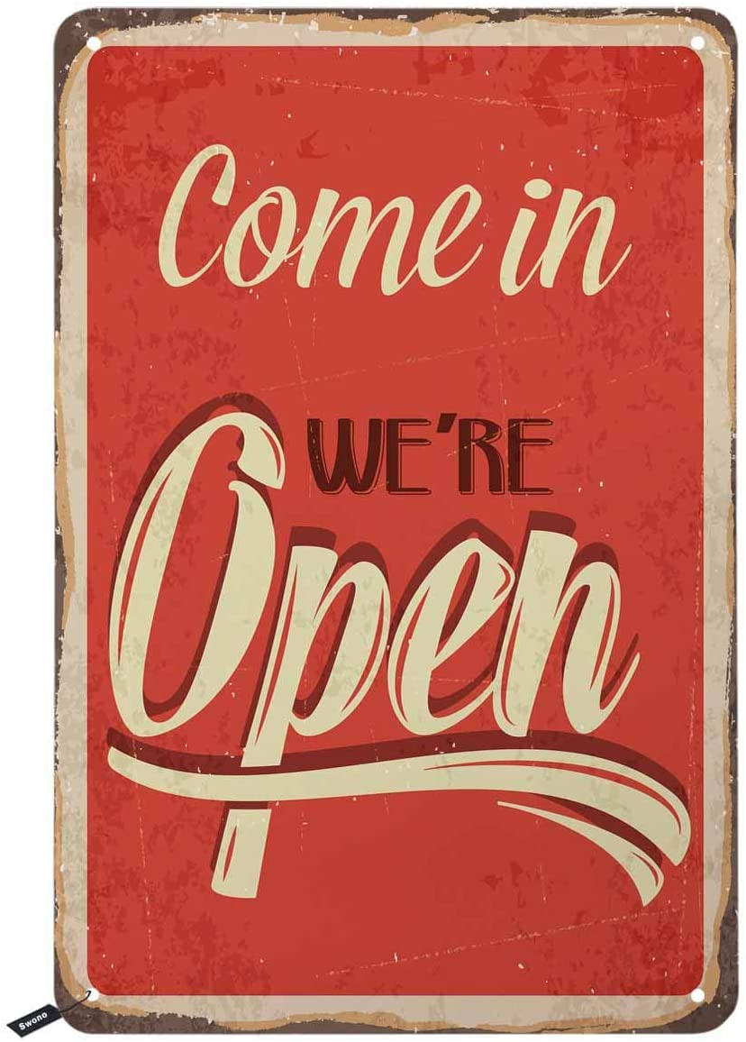 Swono Come in We are Open Tin Signs,Vintage Metal Tin Sign for Men Women,Wall Decor for Bars,Restaurants,Cafes Pubs,12x8 Inch