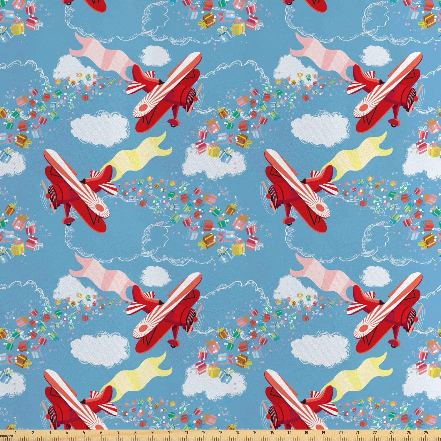 Ambesonne Airplane Fabric by The Yard, Retro Biplanes with Pennants Throwing Present Boxes Announcement Celebration Art, Decorative Satin Fabric for Home Textiles and Crafts, Multicolor