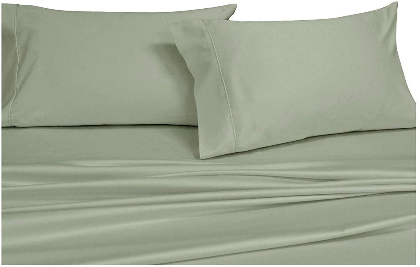 Royal Hotel Solid Sage Top-Split-Calking: Adjustable California King Bed Size Sheets, 4PC Bed Sheet Set, 100% Cotton, 300 Thread Count, Sateen Solid, Deep Pocket