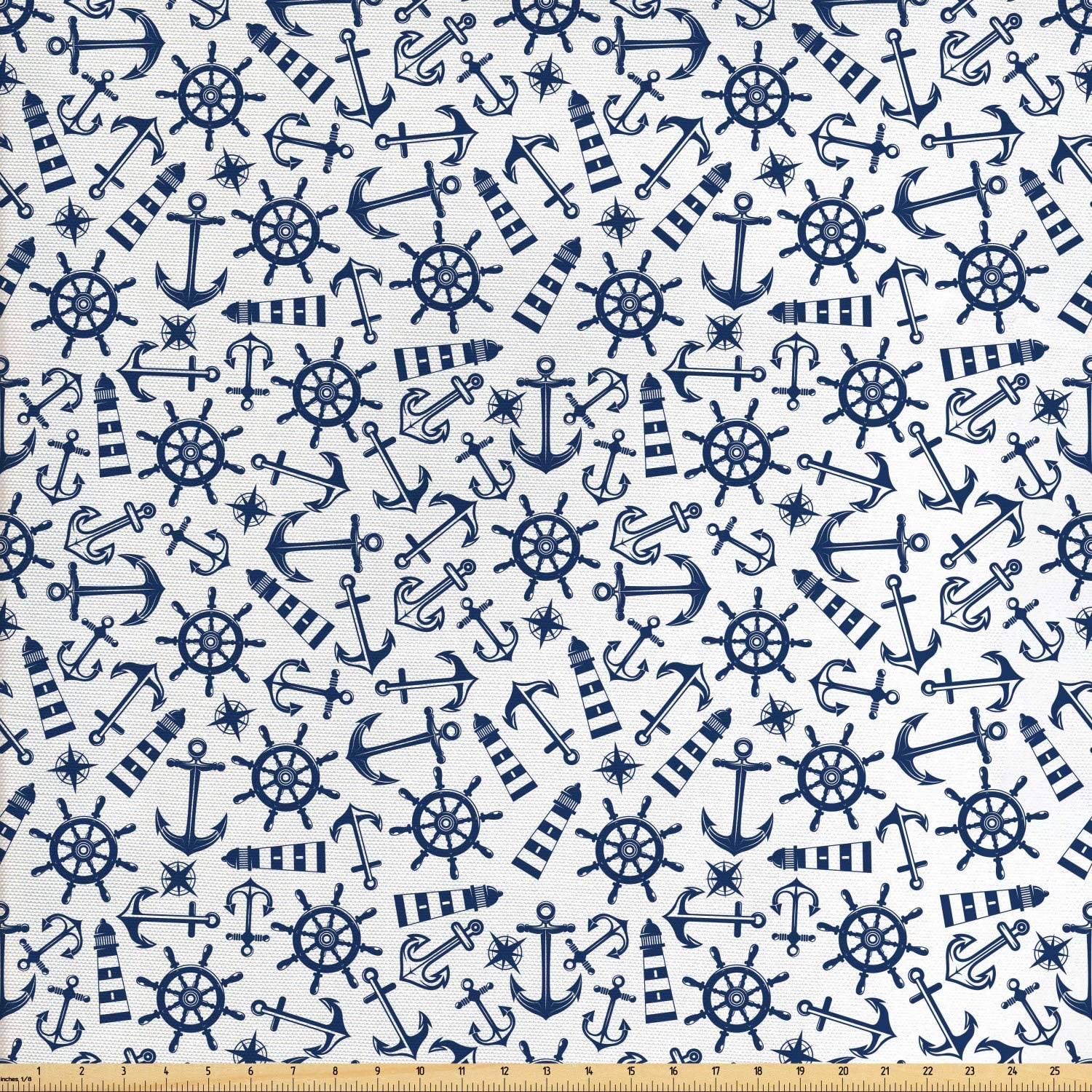 Ambesonne Navy White Fabric by The Yard, Simple Retro Nautical Pattern with Anchor Helm Lighthouse and Windrose, Decorative Fabric for Upholstery and Home Accents, Night Blue and White