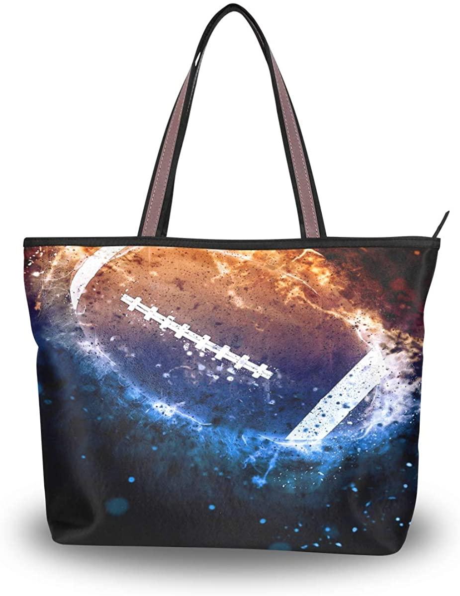 Woman Tote Bag American Football Sport Shoulder Handbag for Work Travel Business Beach Shopping School