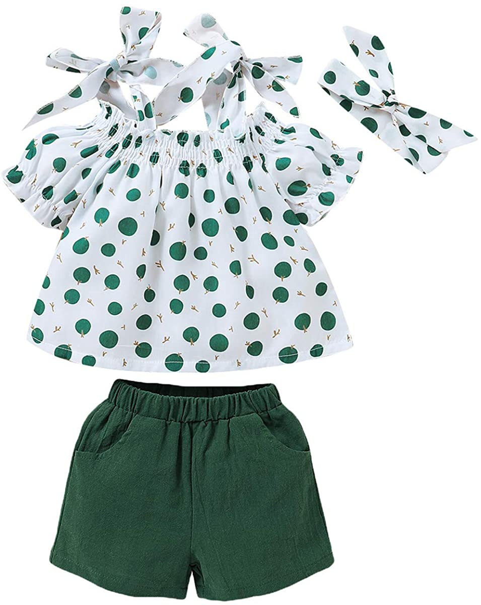 SANMIO 3PCS Newborn Toddler Baby Girl Clothes Outfits, Floral Ruffle Short Sleeve Tops + Pant Set with Headband