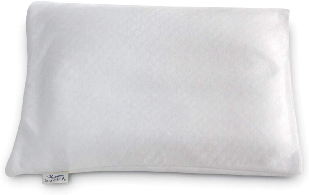 Buckwheat White Fabric Travel Bed Pillow Solid