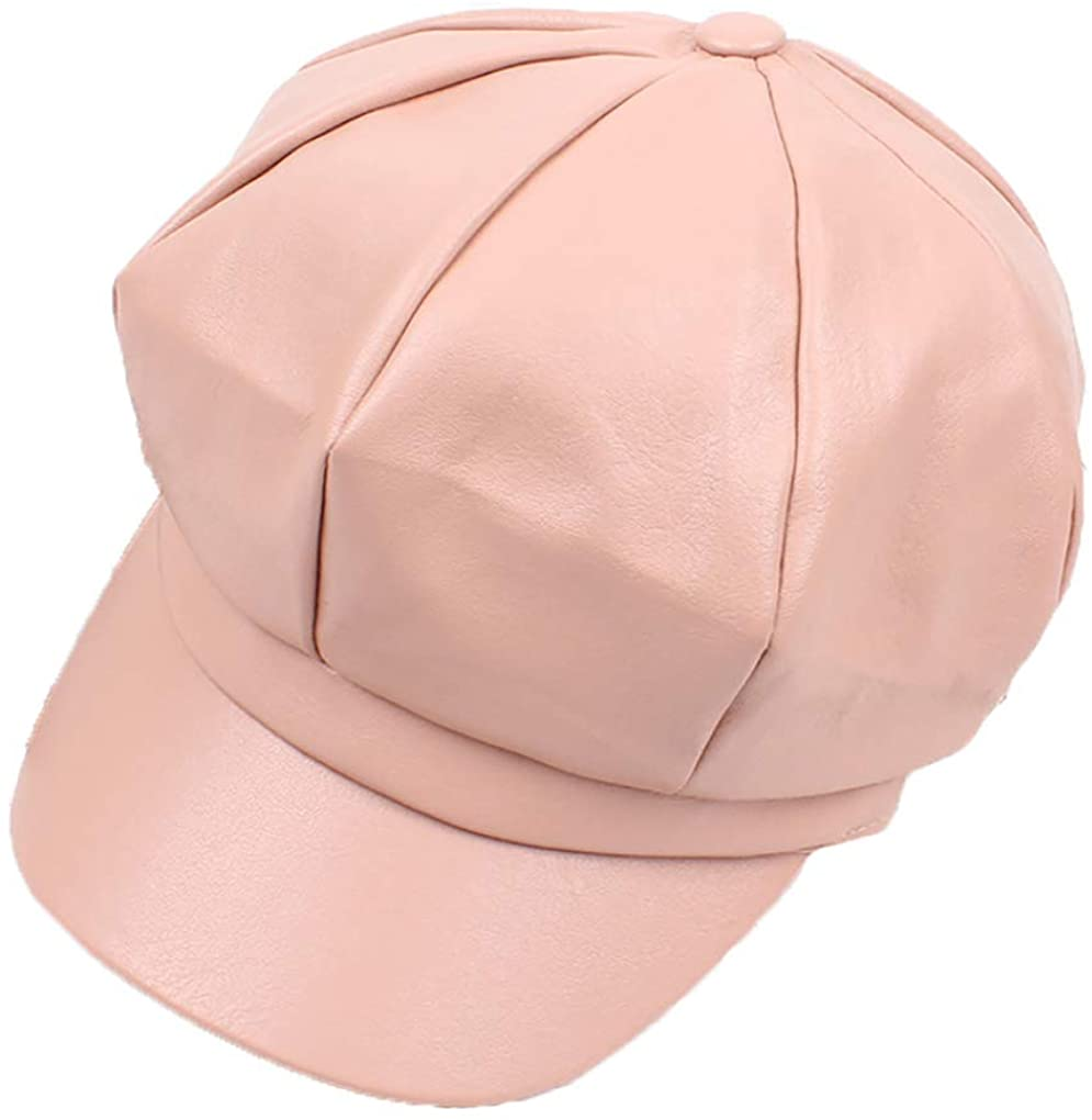 SANOMY Bright Newsboy Cap Solid Color Painter Caps Octagonal Detective Hat Faux Leather Visors Hats