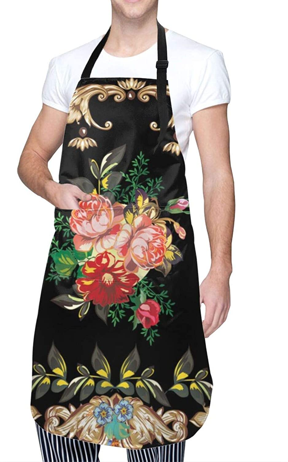 Cooking Apron Illustration With Rose Flower Decoration On Black Background Kitchen Apron Bib Apron Custom Aprons For Baking Bbq Aprons Adjustable Neck For Men Women Waterproof 28.3x25.6 Inches
