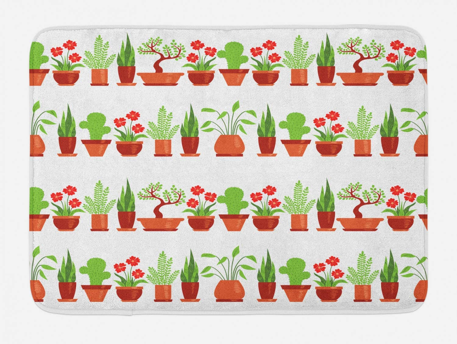 Lunarable Potted Cacti Bath Mat, Rhythmic Pattern of Home Plants and Succulents on Plain Backdrop, Plush Bathroom Decor Mat with Non Slip Backing, 29.5