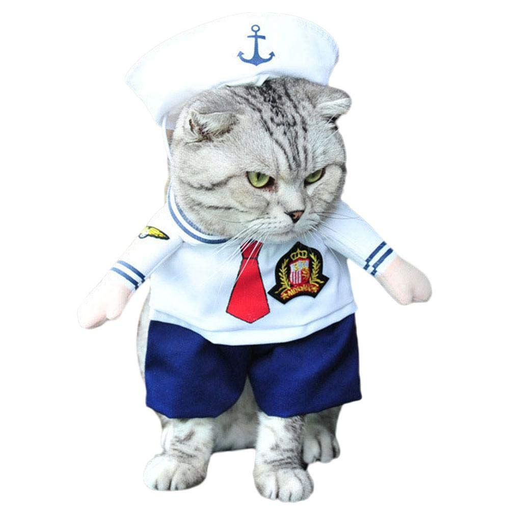 Pet Sailor Costume, Dog Navy Captain Suit with Hat Cosplay Halloween Christmas Cat Cute Costumes Tie Set Uniform Clothes for Small and Medium Puppy Kitten
