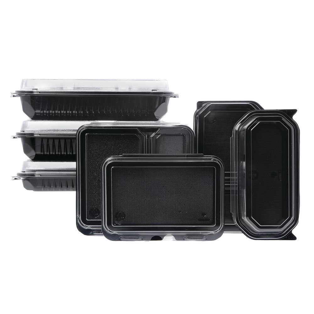 Carryout Food Container Hinged 18 oz Black Polystyrene Sides- 6 1/4 L x 5 1/2 W x 2 1/8 H 200 Per Case