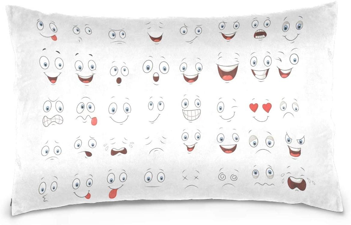 Kaariok Cartoon Eye Cotton Pillowcase Queen Size Decorative Soft Pillow Case Cover Protector with Hidden Zipper 20 X 30 Inches