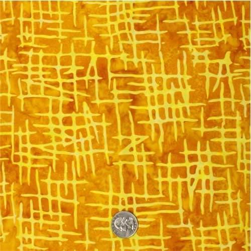 Batik Fabric, Cross Hatch, Golden, by The 1/2 Yard