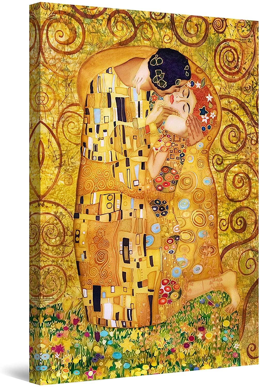 Startonight Canvas Wall Art Tree of Life Kiss Klimt, Framed Wall Decor 24 x 36