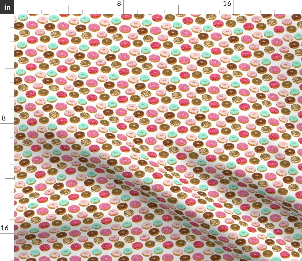 Spoonflower Fabric - Donuts Pink Chocolate Strawberry Food Print Sweets Bakery Sweet Treat Printed on Cotton Poplin Fabric by The Yard - Sewing Shirting Quilting Dresses Apparel Crafts