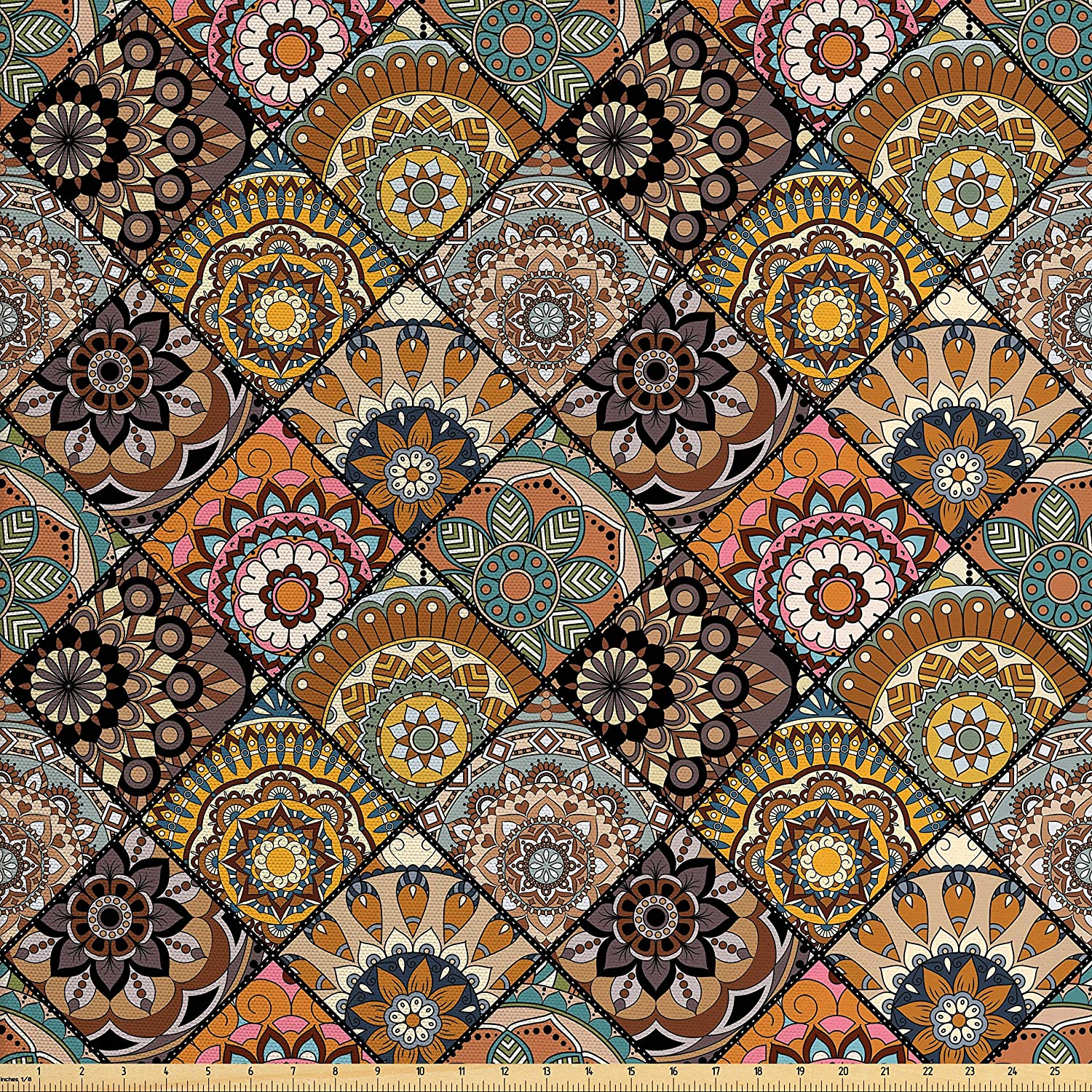 Ambesonne Moroccan Fabric by The Yard, Mexican Ornaments with Abstract Old Fashioned Mandala Checkered, Decorative Fabric for Upholstery and Home Accents, Multicolor
