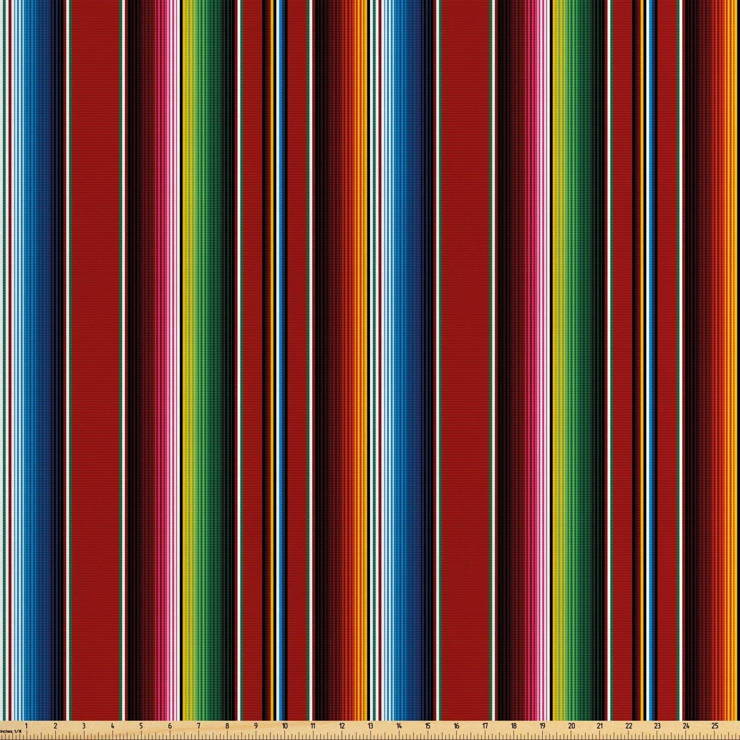 Ambesonne Cinco de Mayo Fabric by The Yard, Mexican Serape Colorful Stripes Vertical Lines Latino Design Illustration, Decorative Satin Fabric for Home Textiles and Crafts, Multicolor