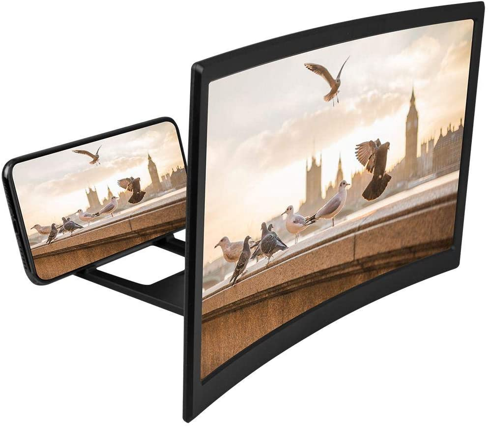 12'' Curved Phone Screen Amplifier, 3D High Definition Magnifying Glass, Multifunctional Lazy Bracket, Blu-ray Ultra Clear Amplifier for All Smart Phone Model, Anti-Slip-Stress