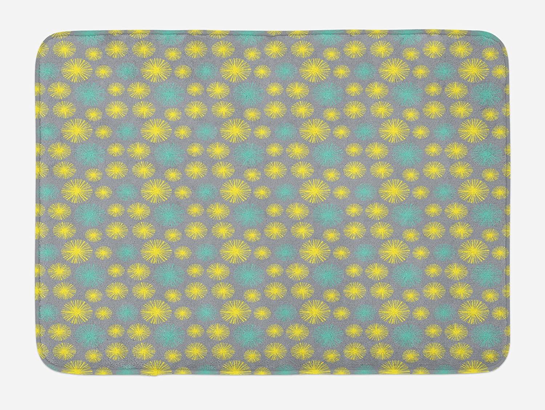 Lunarable Dandelion Bath Mat, Blow Ball Flowers Blooming Summer Flora Design on Greyscale Backdrop, Plush Bathroom Decor Mat with Non Slip Backing, 29.5