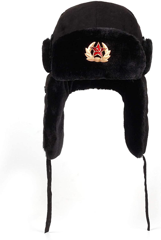 Unisex Bomber Trooper Trapper Hat,Winter Bomber Hats Pilot Trapper Aviator Cap Faux Fur Earflap Snow Caps
