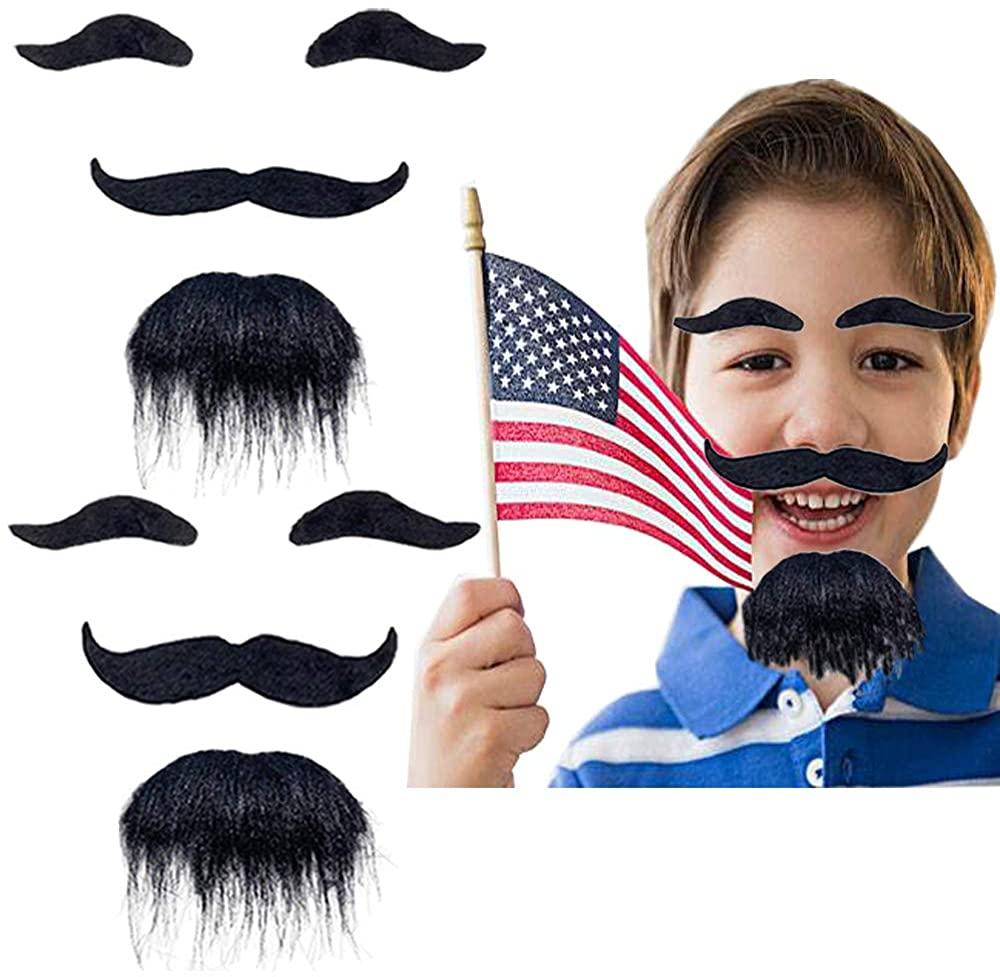 Cshangzei 2 PCS Fake Mustaches,False Facial Hair,Bulk Fakes Mustache for Party Supplies Black