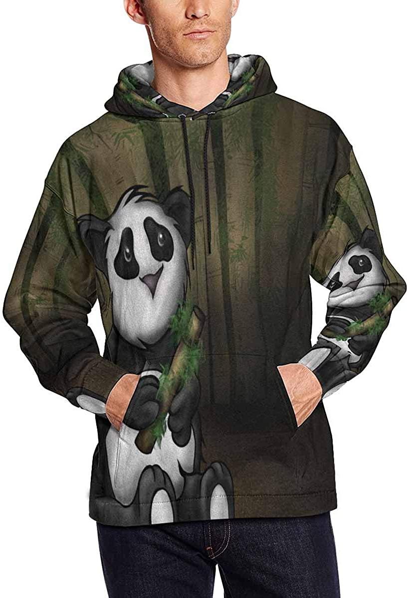 InterestPrint Custom Mens Sad Panda Cartoon Holding A Piece of Bamboo Hoodies Sport Hooded Sweatshirts Fashion Pullover Hoodie XXL