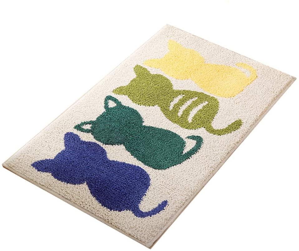 Durable Indoor Outdoor Door Mat, 24x35 Heavy Duty Rubber Doormat, Bathtub Mat, Easy Clean, Absorbent Mats for Entry, Garage, Patio, High Traffic Areas, Cartoon Cat Bathroom Mat,Khaki Cat Color