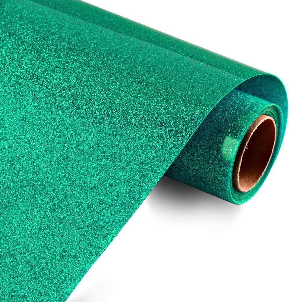 HTV Heat Transfer Vinyl Glitter Vinyl Rolls by KISSWILL, 10 Inches by 6 Feet Jade Green Iron on Vinyl for T-Shirts